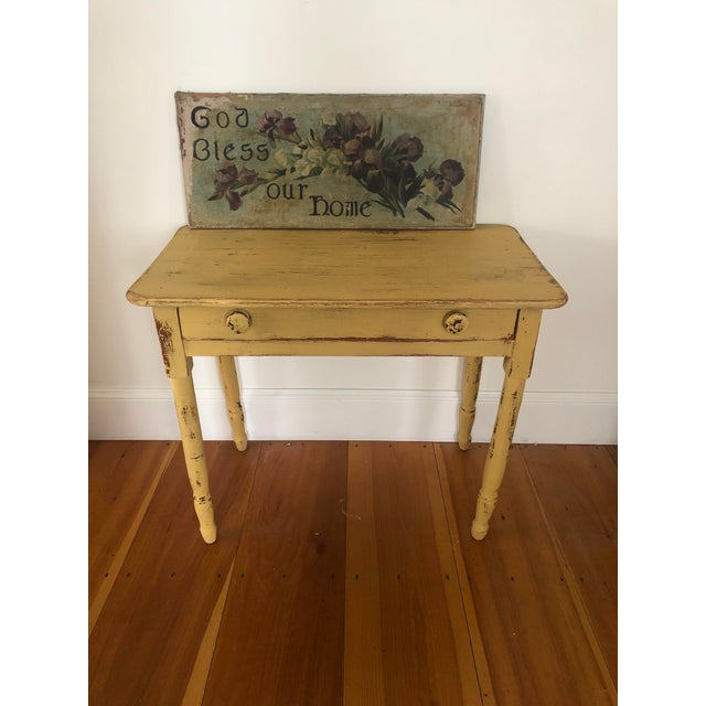Mustard Antique Distresses French Style Farm Table For Sale - Image 8 of 11