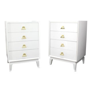 Pair of White Lacquer Brass Pulls High Chest Stands For Sale