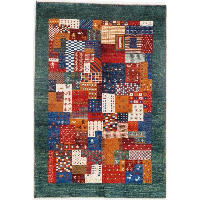 """Pasargad N Y Genuine Persian Gabbeh Wool Rug - 3′4″ × 4′11"""" For Sale - Image 4 of 4"""