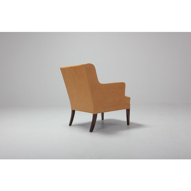 Scandinavian Modern Bergere Chairs in Camel Leather For Sale - Image 4 of 11