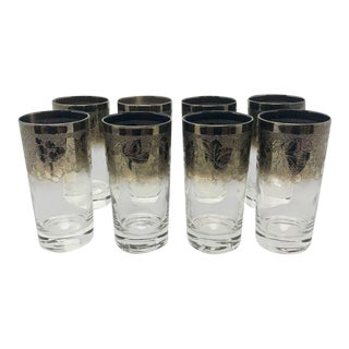 Mid-Century Modern Dorothy Thorpe Silver and Crystal Highball Glasses - Set of 8