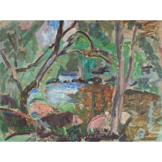 Gerald Wasserman Abstracted Carmel, California Landscape Oil Painting, Mid 20th Century For Sale