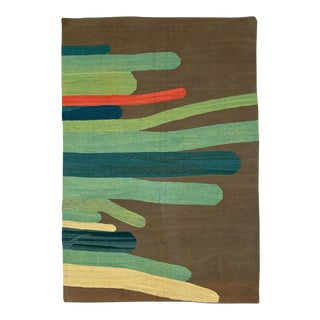 "Vintage Persian Flatweave Kilim Rug – Size: 5' 10"" X 7' 11"" For Sale"