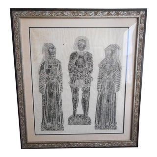 Large Brass Grave Rubbing, Framed For Sale