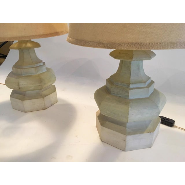 Mid-Century Carved Table Lamps - A Pair - Image 5 of 6