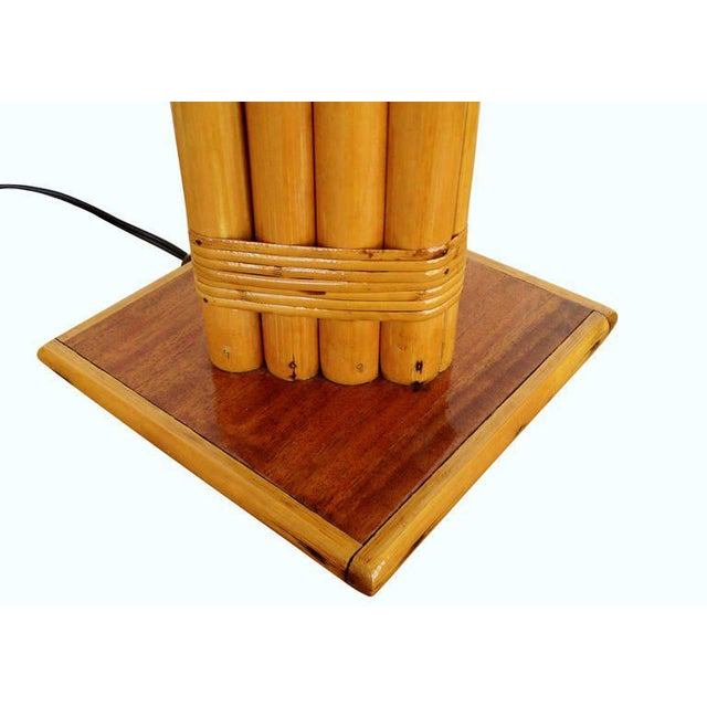Bamboo Restored Wrapped Rattan Pole Lamp with Mahogany Base For Sale - Image 7 of 7