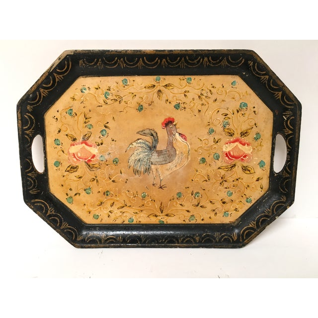 Vintage Paper Mache Rooster Motif Tray - Image 2 of 7