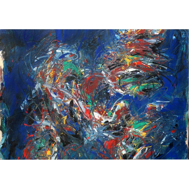 """Monumental Abstract Oil on Canvas Titled """"Figure"""" Signed Dehais, Dated 1984 For Sale - Image 4 of 8"""