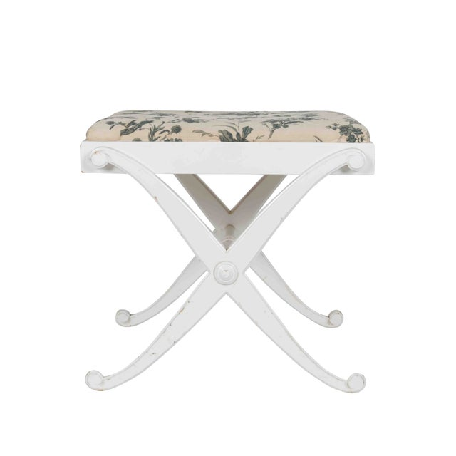 Painted Wood X Bench With Blue and White Cushion - Image 3 of 4