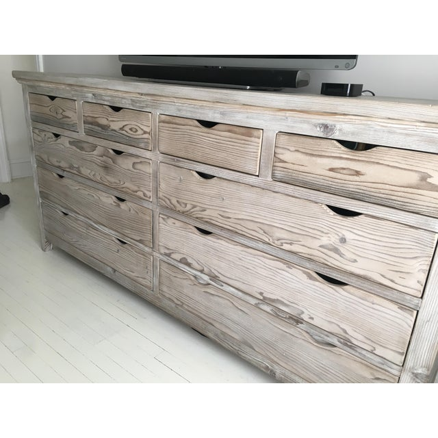 Custom White Washed Pine 10-Drawer Dresser - Image 8 of 11