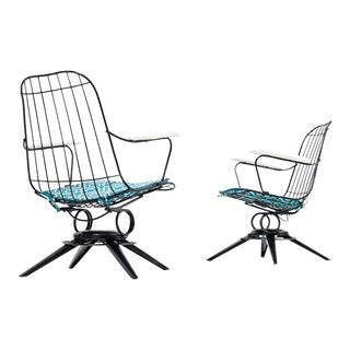 Homecrest Mid-Century Modern Outdoor Chairs Aqua and Black
