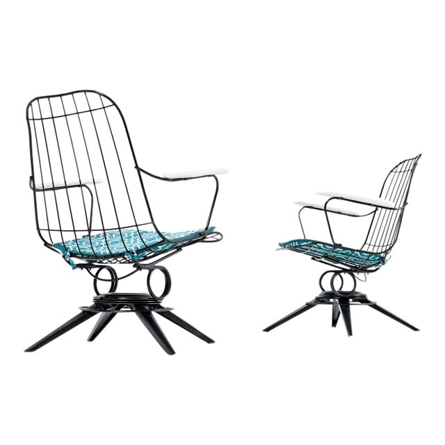 Homecrest Mid-Century Modern Outdoor Chairs Aqua and Black For Sale