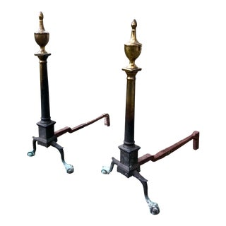 Pair of Early 18th C. American Chippendale Andirons For Sale