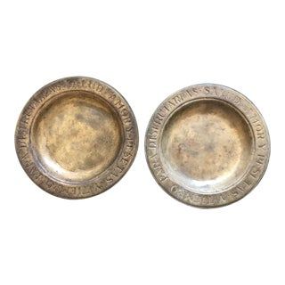 """Vintage Pair Inscribed Spanish Bowls Plates 8"""" Solid Brass For Sale"""