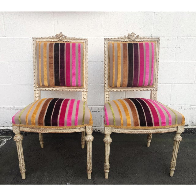 Antique French 19th Century Louis XVI Side or Hall Chairs - Set of 2 For Sale - Image 11 of 11