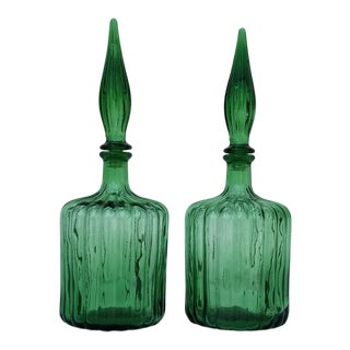 1970s Vintage Emerald Green Glass Decorative Decanters - a Pair For Sale