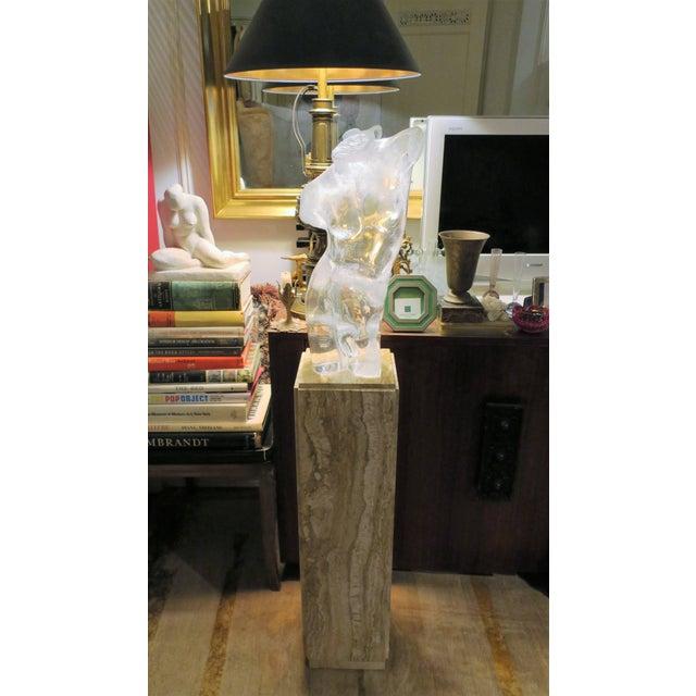 Italian Italian Modern Travertine Marble Pedestal Column For Sale - Image 3 of 7