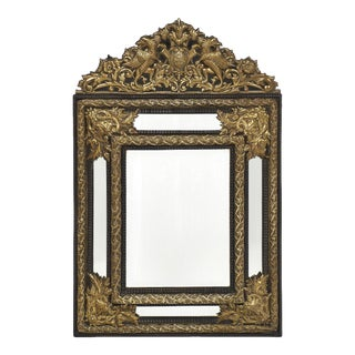 Napoleon III Period Embossed Brass Mirror For Sale