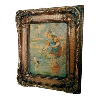 Late 19th Century Dutch Figurative Landscape Oil Painting by Francis William Van Vreeland, Framed For Sale