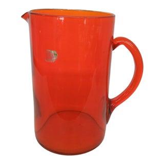 Orange Glass Vintage Water Juice Pitcher Jug 484b For Sale