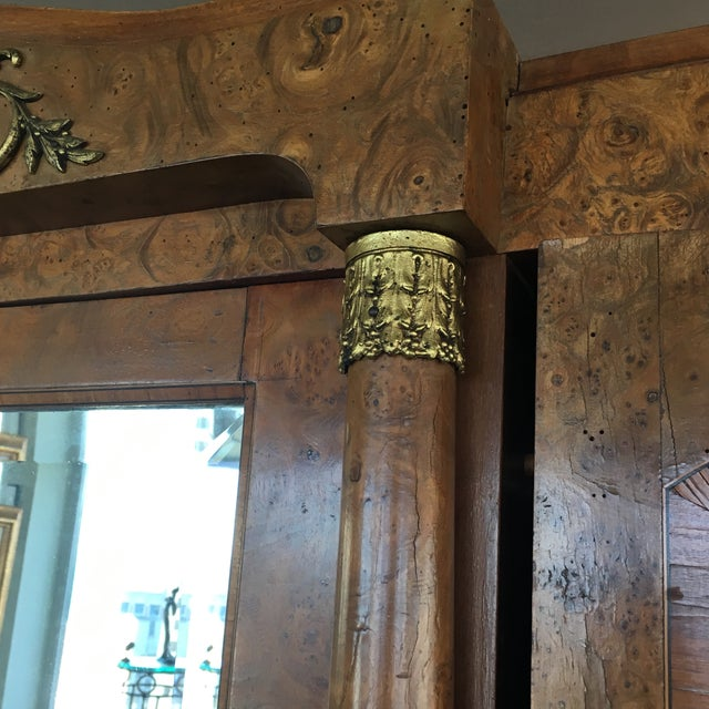 Antique French Burlwood Armoire With Mirror - Image 4 of 10