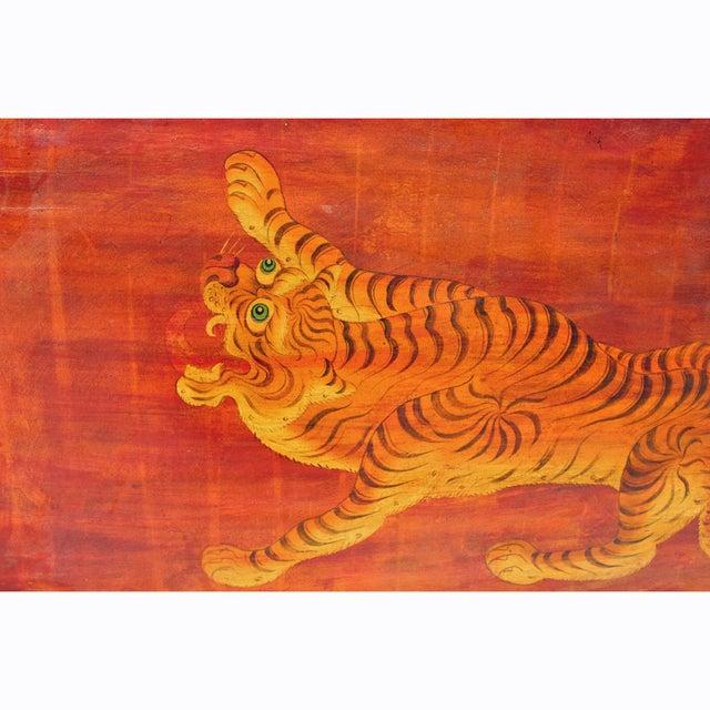 Chinese Tibetan Vintage Tiger Animal Graphic Wood Wall Panel For Sale - Image 4 of 6