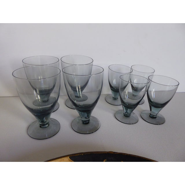 Crystal Hand Painted Tray & Crystal Liqueur Glasses-Set of 9 For Sale - Image 7 of 8
