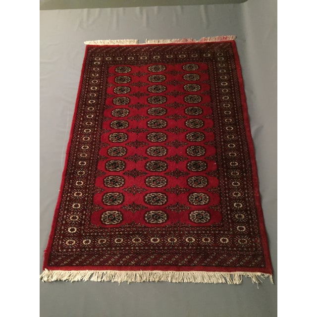 Hand Knotted Woolen Bokhara Rug - 4' x 6' For Sale - Image 9 of 10