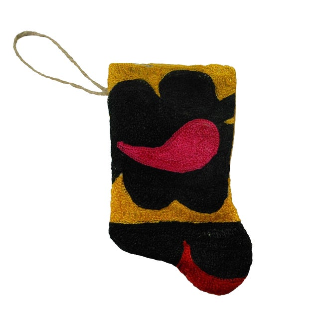 Handmade Suzani Mini Christmas Stocking Ornament - Image 1 of 3