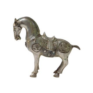 Detail Handmade Metal Silver Color Chinese Ancient Warrior Horse Figure For Sale
