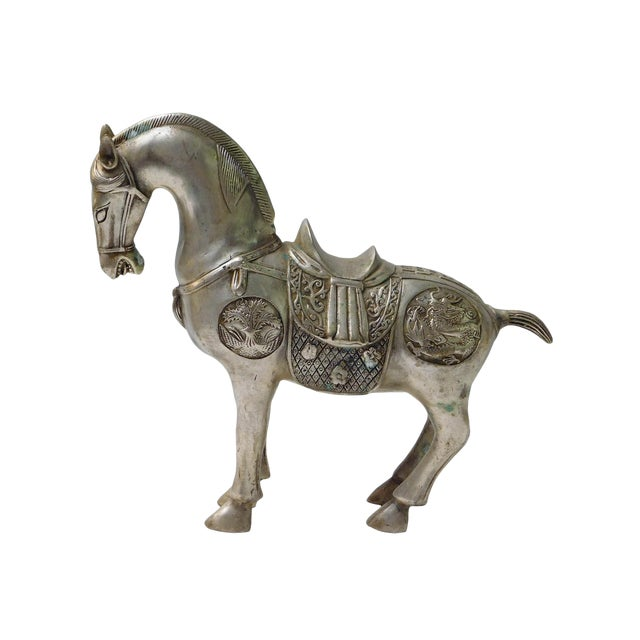 Detail Handmade Metal Silver Color Chinese Ancient Warrior Horse Figure - Image 1 of 6