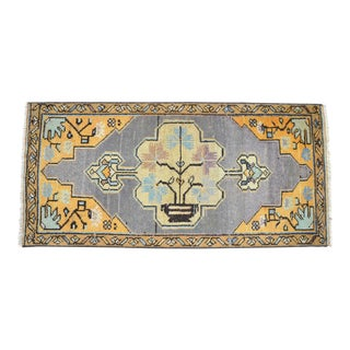 Distressed Low Pile Turkish Yastik Petite Rug Faded Colors Mat - 18'' X 37'' For Sale