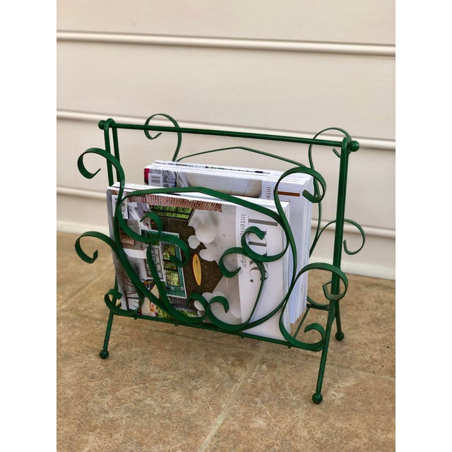 Metal Mid-Century Modern Green Wrought Iron Magazine Rack For Sale - Image 7 of 10