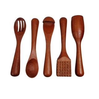 Danish Modern Sculptural Teak Kitchen Utensils - Set of 5 For Sale