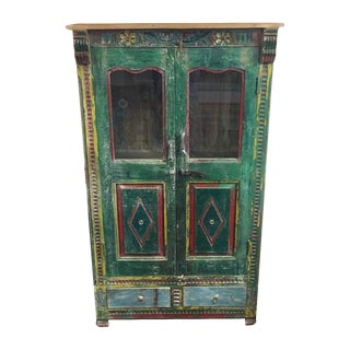 Antique Indian Rustic Green Red and Yellow Paint Finish Cabinet For Sale