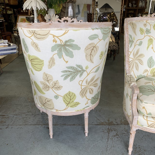 Textile Upholstered Bergere Chairs - a Pair For Sale - Image 7 of 10