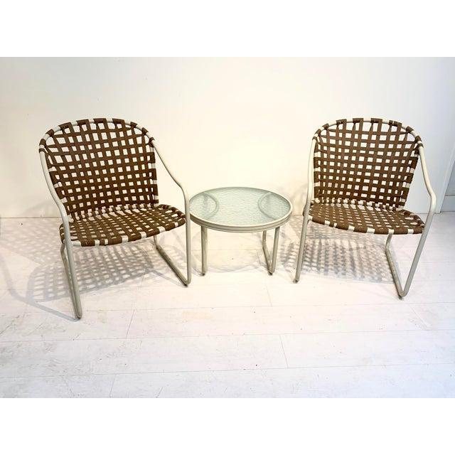 Brown Jordan Mid Century Modern Brown Jordan Off White and Brown Patio Furniture-Set of 3 For Sale - Image 4 of 10
