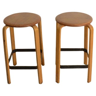 Pair of Swedish Bentwood Stools For Sale