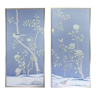 """Furness"" Chinoiserie Hand-Painted Silk Diptych by Simon Paul Scott for Jardins en Fleur - Set of 2 For Sale"