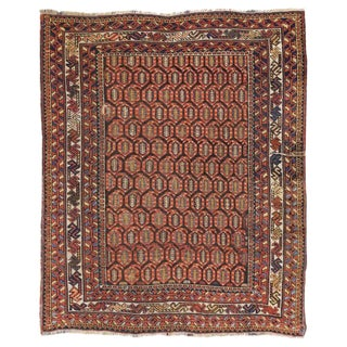 Antique Persian Afshar Tribal Boteh Wool Rug - 4′1″ × 4′9″ For Sale