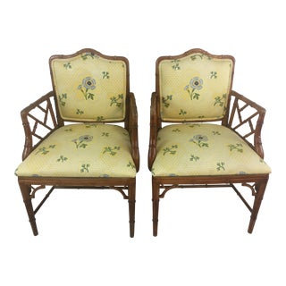 Upholstered Vintage Chippendale Chairs, a Pair For Sale