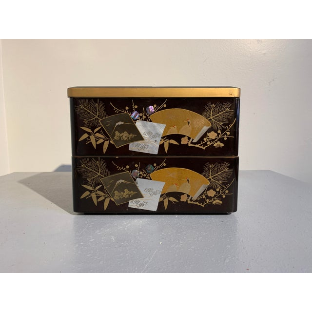 Asian Japanese Lacquer Two Tiered Box, Jubako, Meiji Period For Sale - Image 3 of 9