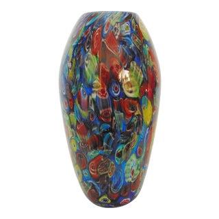 Murano Glass Millefiori Art Glass Vase For Sale