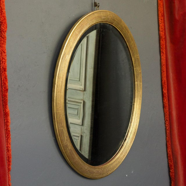 French 19th Century Oval Mirror with Gilt Frame For Sale - Image 4 of 11
