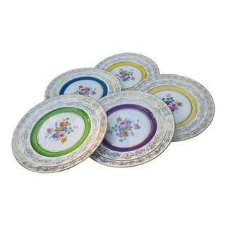 Golden Plates W/ Colorful Floral Motif- S/5 For Sale