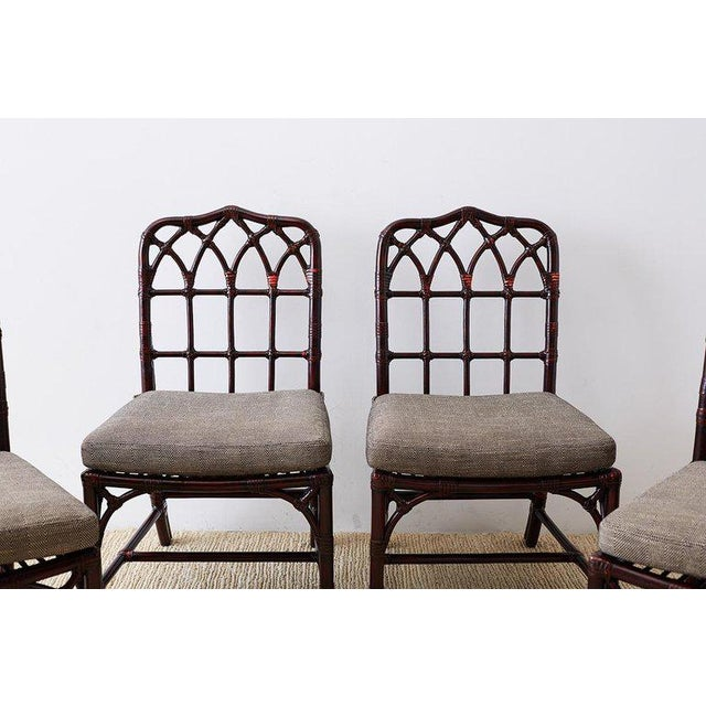 Hollywood Regency Set of Four McGuire Lacquered Bamboo Dining Chairs For Sale - Image 3 of 13