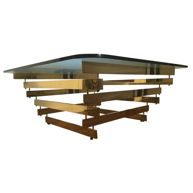 Paul Mayan Attributed Brass Stacked Coffee Table - Image 1 of 9