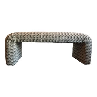 Waterfall Upholstered Bench in Groundworks Tempest Chevron For Sale