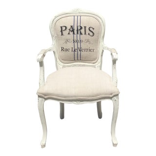 Louis XV Style White Square Back Arm Chair