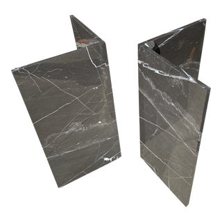 1970s Black Marble Geometric Bases - a Pair For Sale